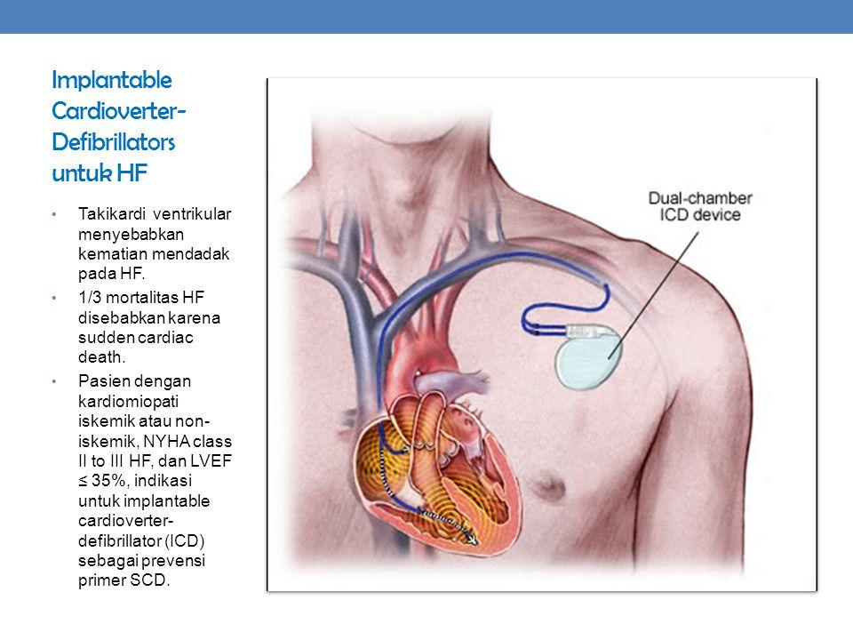 Implantable Cardioverter- Defibrillators untuk HF Takikardi ventrikular menyebabkan kematian mendadak pada HF. 1/3 mortalitas HF disebabkan karena sud