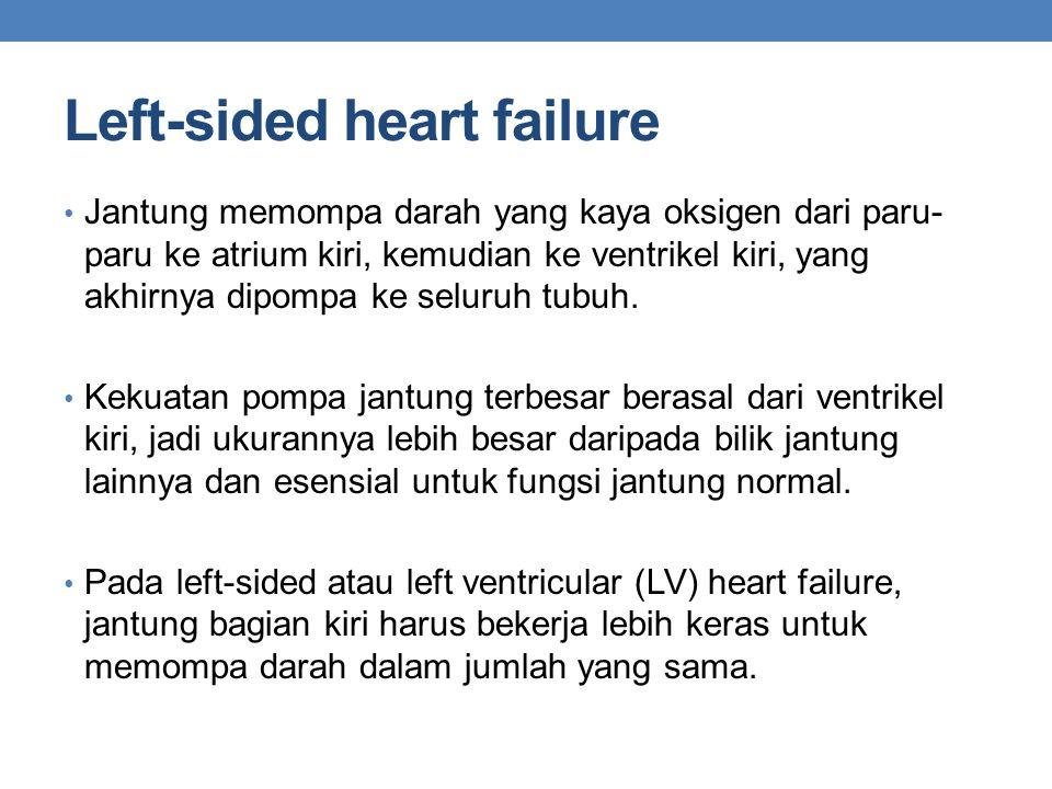 Left-sided heart failure Jantung memompa darah yang kaya oksigen dari paru- paru ke atrium kiri, kemudian ke ventrikel kiri, yang akhirnya dipompa ke