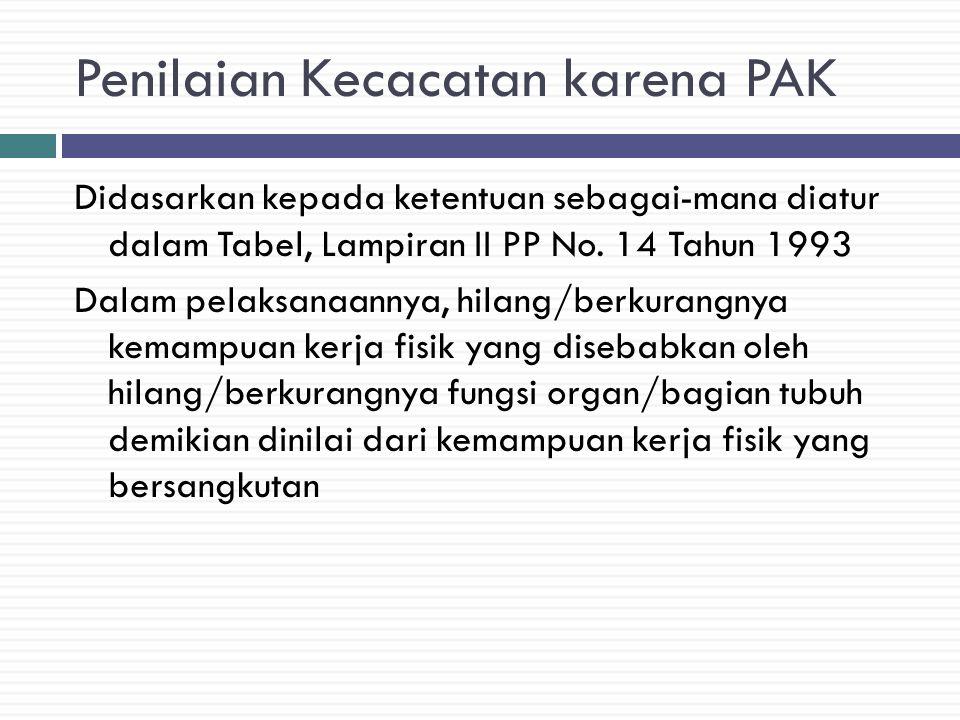 Penilaian Kecacatan karena PAK Didasarkan kepada ketentuan sebagai-mana diatur dalam Tabel, Lampiran II PP No.