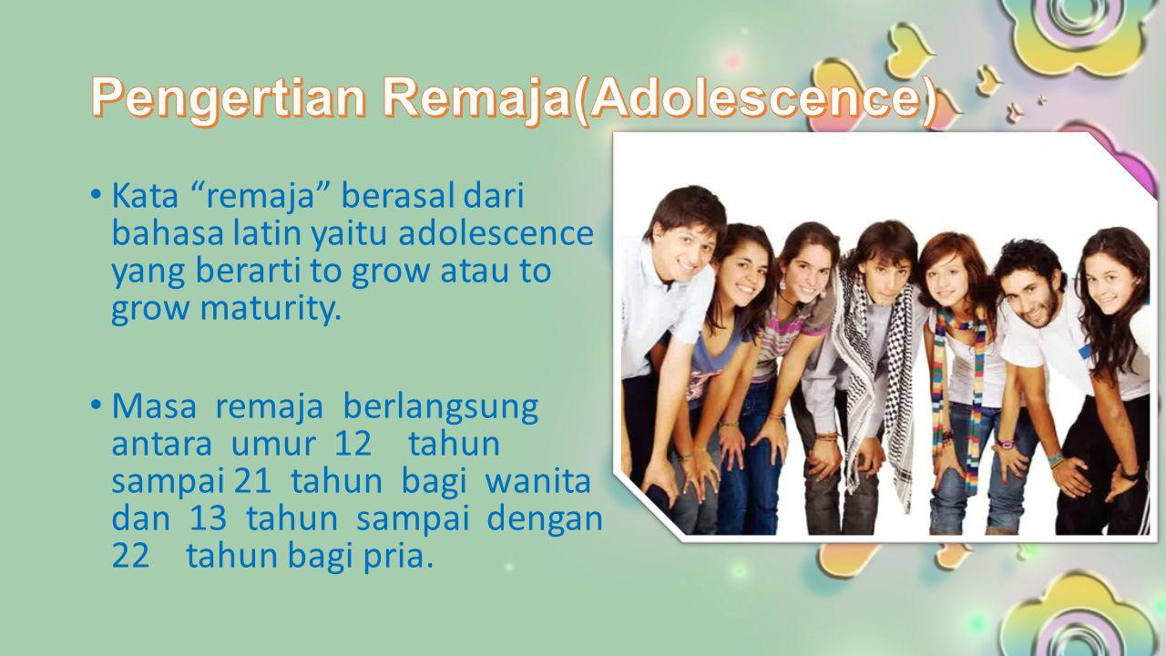 Kata remaja berasal dari bahasa latin yaitu adolescence yang berarti to grow atau to grow maturity.