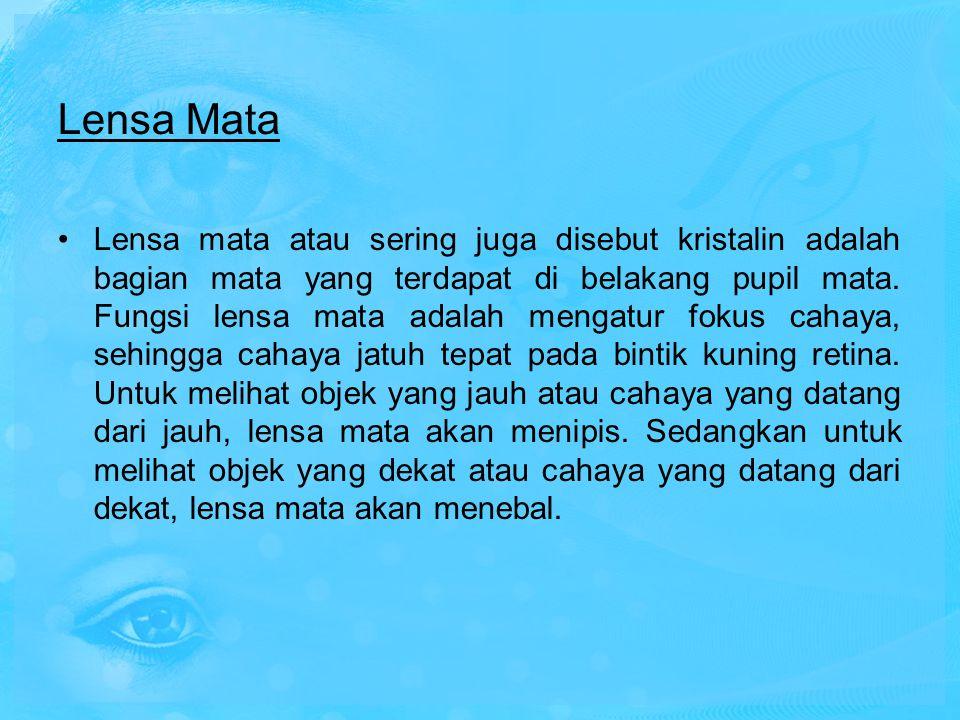 Lensa Mata Lensa mata atau sering juga disebut kristalin adalah bagian mata yang terdapat di belakang pupil mata. Fungsi lensa mata adalah mengatur fo