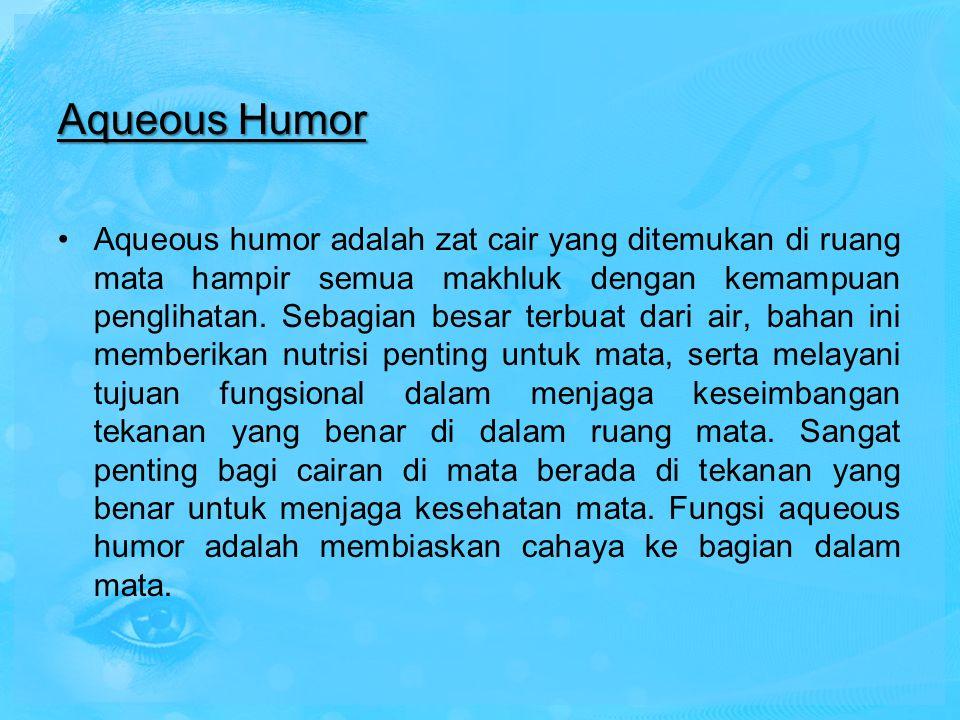 Aqueous Humor Aqueous humor adalah zat cair yang ditemukan di ruang mata hampir semua makhluk dengan kemampuan penglihatan. Sebagian besar terbuat dar