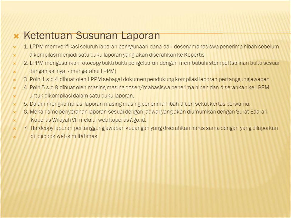  Pertanggungjawaban keuangan hibah yang dibuat oleh Ketua Peneliti/Pengabdi harus mengacu pada Peraturan Menteri Keuangan (PMK) Republik Indonesia 53/PMK.02/2014 tanggal 27 Maret 2014 dengan perubahan nomor 57/PMK.02/2015 Tanggal 18 Maret 2015 tentang Standar Biaya Tahun Anggaran 2015.