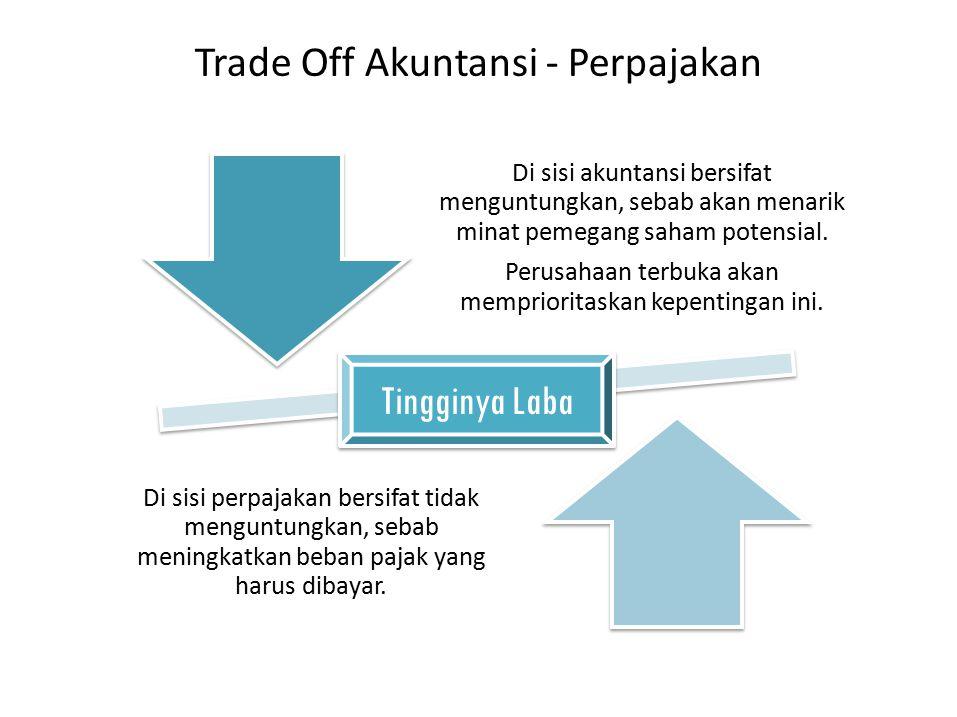 Trade Off Akuntansi - Perpajakan Di sisi akuntansi bersifat menguntungkan, sebab akan menarik minat pemegang saham potensial. Perusahaan terbuka akan