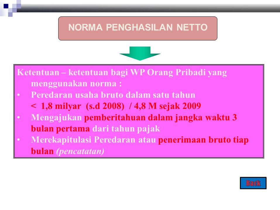 Ketentuan – ketentuan bagi WP Orang Pribadi yang menggunakan norma : Peredaran usaha bruto dalam satu tahun < 1,8 milyar (s.d 2008) / 4,8 M sejak 2009