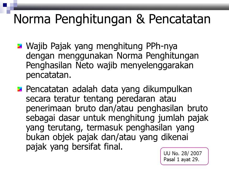 Norma Penghitungan & Pencatatan Wajib Pajak yang menghitung PPh-nya dengan menggunakan Norma Penghitungan Penghasilan Neto wajib menyelenggarakan pencatatan.