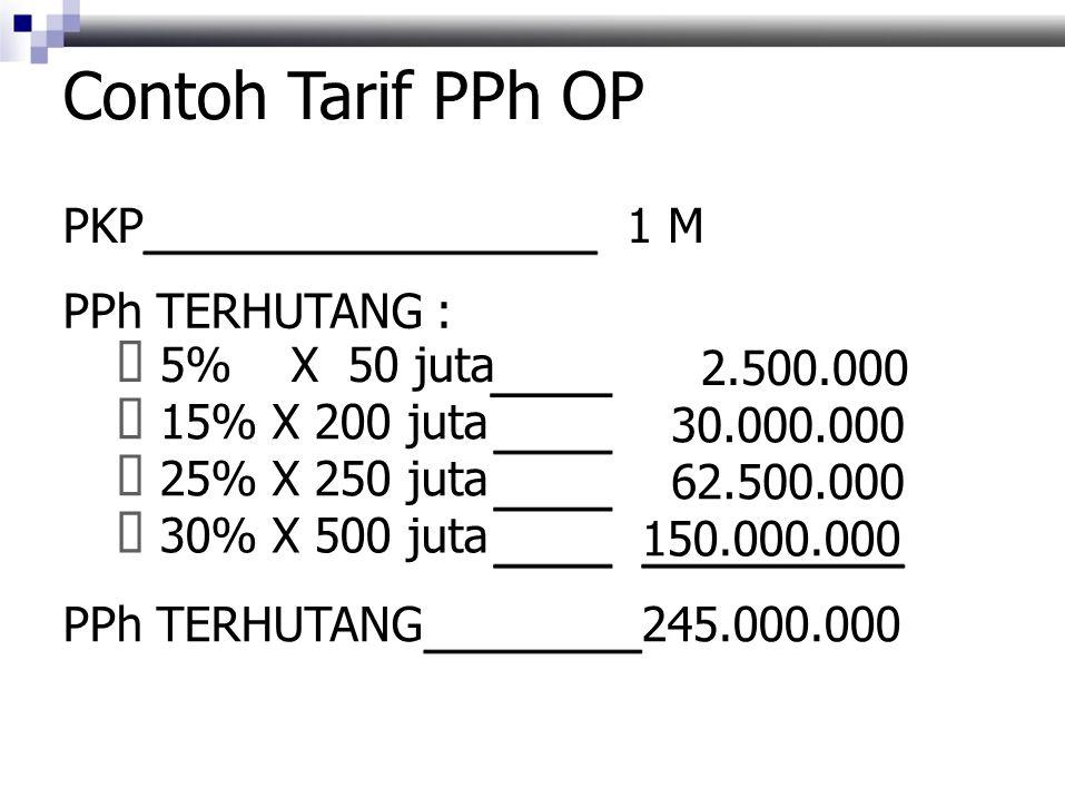 Contoh Tarif PPh OP PKP1 M PPh TERHUTANG :  5% X 50 juta 2.500.000  15% X 200 juta 30.000.000  25% X 250 juta 62.500.000  30% X 500 juta 150.000.000 PPh TERHUTANG245.000.000