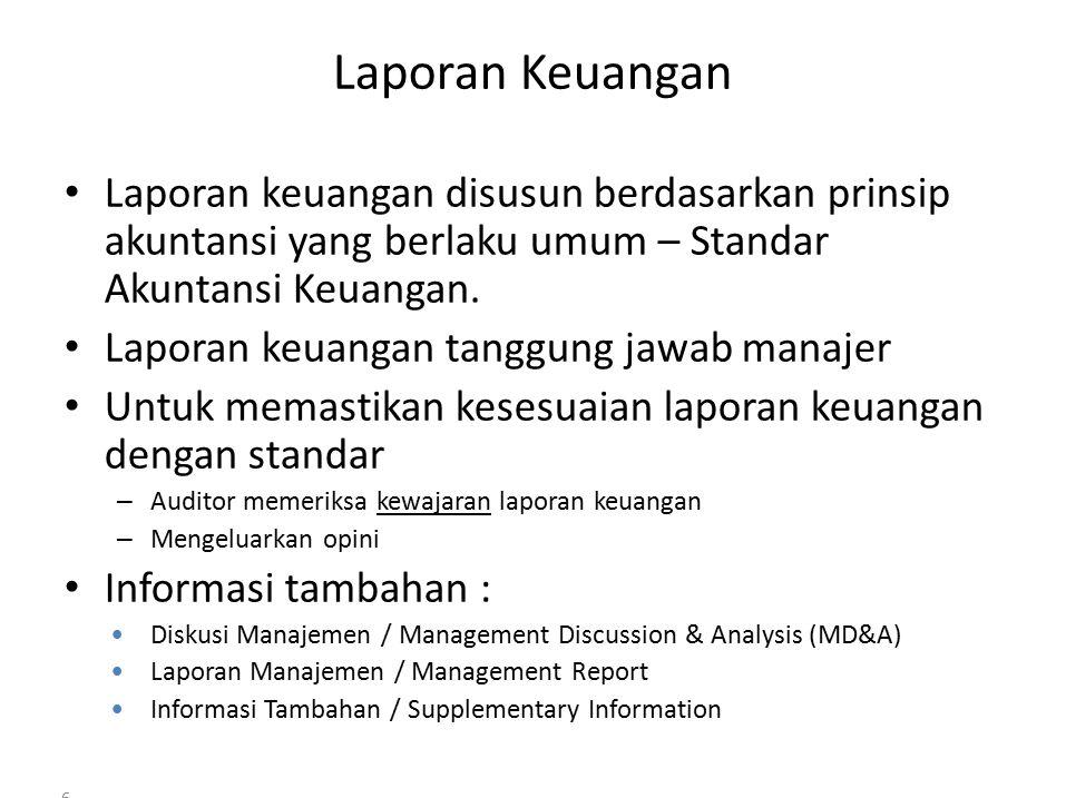 6 Laporan Keuangan Laporan keuangan disusun berdasarkan prinsip akuntansi yang berlaku umum – Standar Akuntansi Keuangan.