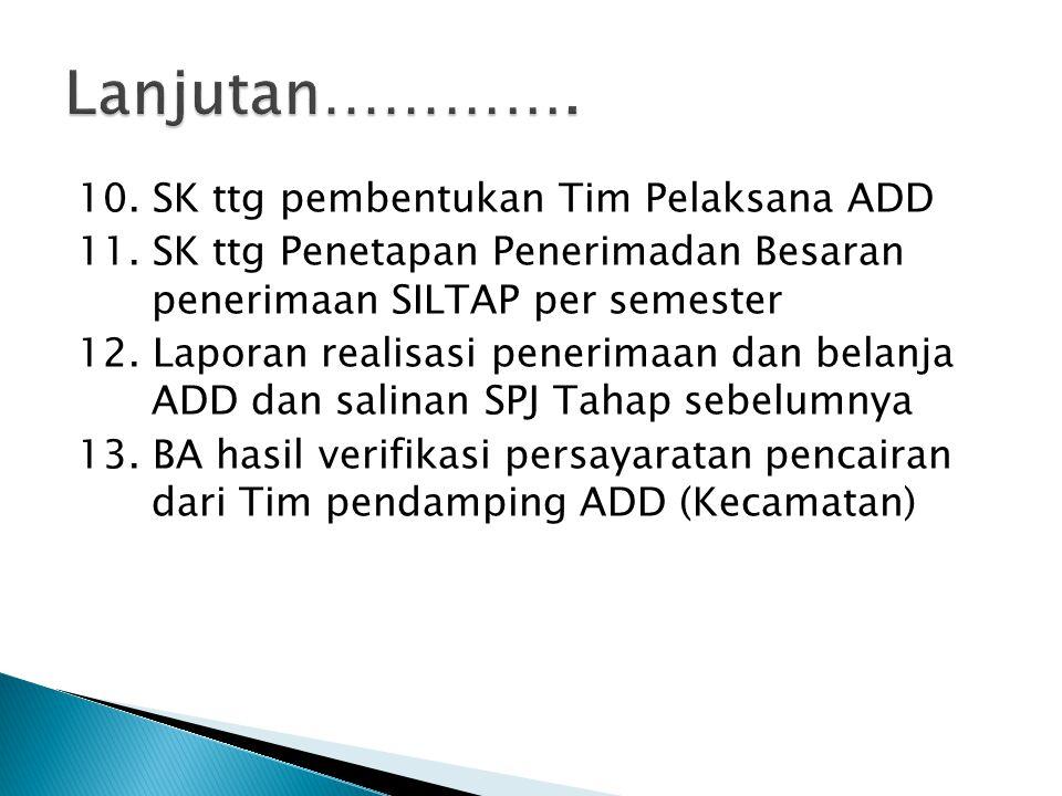 10. SK ttg pembentukan Tim Pelaksana ADD 11. SK ttg Penetapan Penerimadan Besaran penerimaan SILTAP per semester 12. Laporan realisasi penerimaan dan