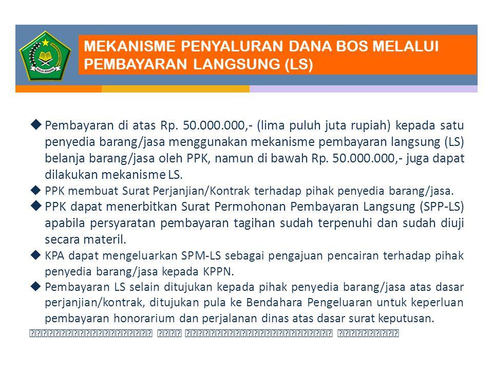 MEKANISME PENYALURAN DANA BOS MELALUI PEMBAYARAN LANGSUNG (LS)  Pembayaran di atas Rp. 50.000.000,- (lima puluh juta rupiah) kepada satu penyedia bar