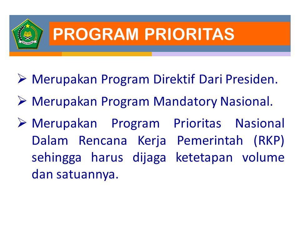 PROGRAM PRIORITAS  Merupakan Program Direktif Dari Presiden.  Merupakan Program Mandatory Nasional.  Merupakan Program Prioritas Nasional Dalam Ren