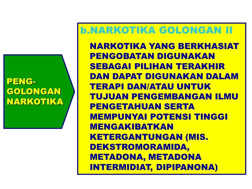 PENG-GOLONGANNARKOTIKA b.NARKOTIKA GOLONGAN II NARKOTIKA YANG BERKHASIAT PENGOBATAN DIGUNAKAN SEBAGAI PILIHAN TERAKHIR DAN DAPAT DIGUNAKAN DALAM TERAP