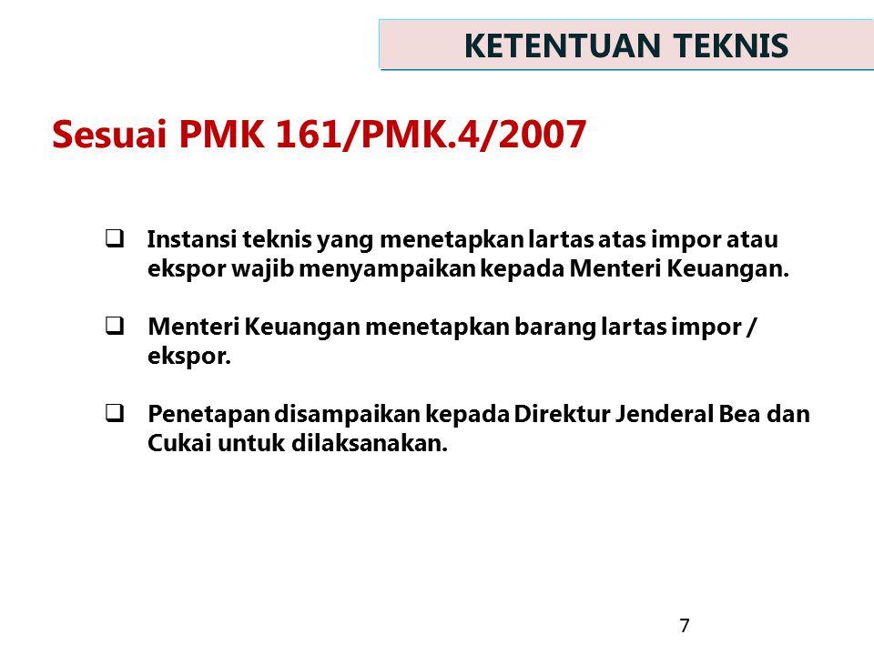  Instansi teknis yang menetapkan lartas atas impor atau ekspor wajib menyampaikan kepada Menteri Keuangan.  Menteri Keuangan menetapkan barang larta