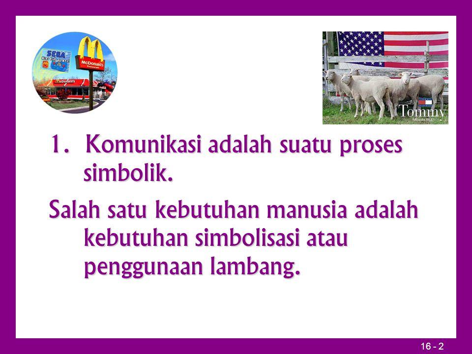 16 - 2 1. Komunikasi adalah suatu proses simbolik. Salah satu kebutuhan manusia adalah kebutuhan simbolisasi atau penggunaan lambang.