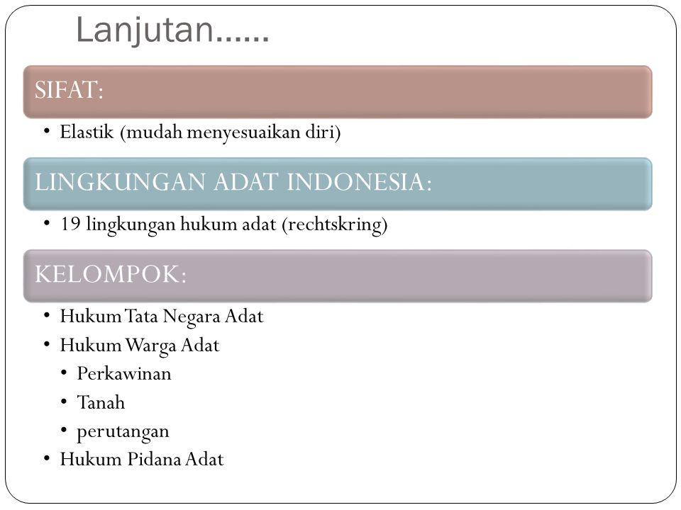 Lanjutan…… SIFAT: Elastik (mudah menyesuaikan diri) LINGKUNGAN ADAT INDONESIA: 19 lingkungan hukum adat (rechtskring) KELOMPOK: Hukum Tata Negara Adat