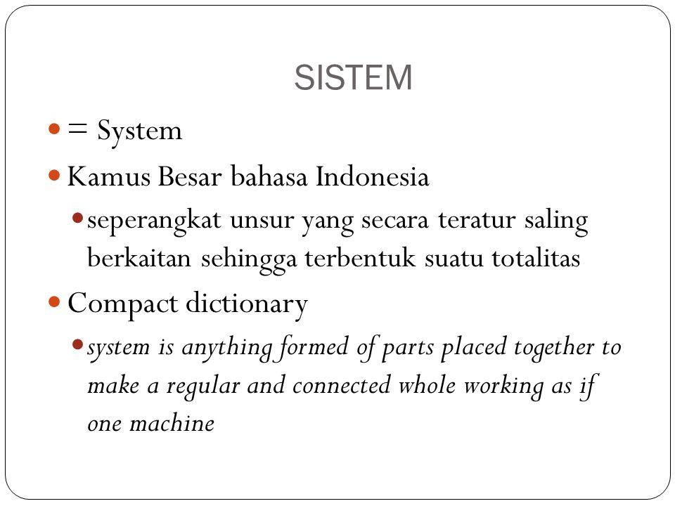 SISTEM = System Kamus Besar bahasa Indonesia seperangkat unsur yang secara teratur saling berkaitan sehingga terbentuk suatu totalitas Compact diction