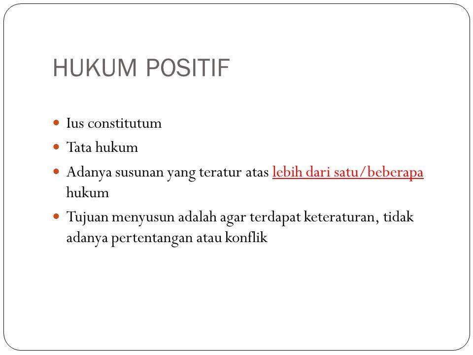 HUKUM POSITIF Ius constitutum Tata hukum Adanya susunan yang teratur atas lebih dari satu/beberapa hukum Tujuan menyusun adalah agar terdapat keteratu