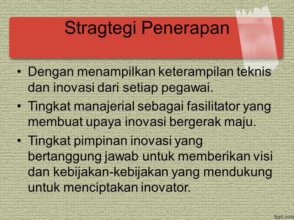 Stragtegi Penerapan Dengan menampilkan keterampilan teknis dan inovasi dari setiap pegawai.