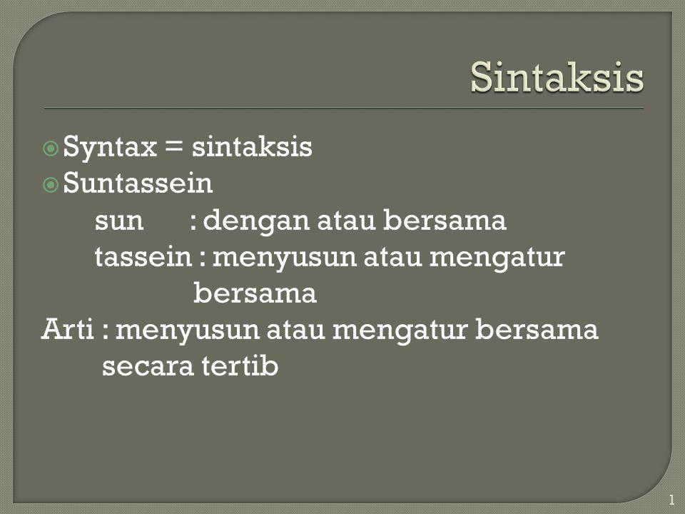  Syntax = sintaksis  Suntassein sun : dengan atau bersama tassein : menyusun atau mengatur bersama Arti : menyusun atau mengatur bersama secara tertib 1