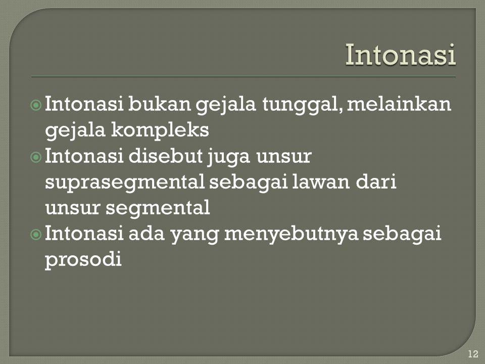  Intonasi bukan gejala tunggal, melainkan gejala kompleks  Intonasi disebut juga unsur suprasegmental sebagai lawan dari unsur segmental  Intonasi ada yang menyebutnya sebagai prosodi 12