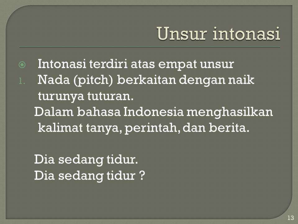  Intonasi terdiri atas empat unsur 1.Nada (pitch) berkaitan dengan naik turunya tuturan.