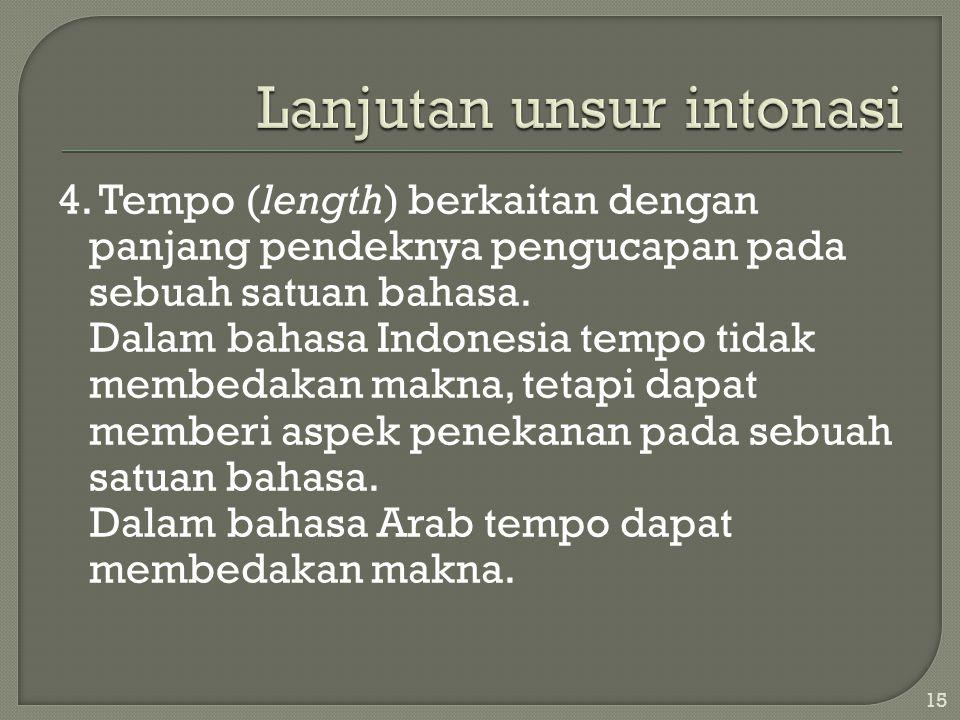 4.Tempo (length) berkaitan dengan panjang pendeknya pengucapan pada sebuah satuan bahasa.