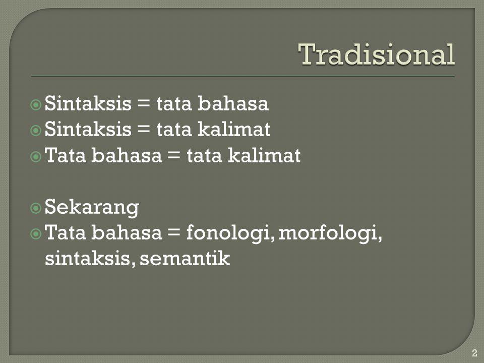  Sintaksis = tata bahasa  Sintaksis = tata kalimat  Tata bahasa = tata kalimat  Sekarang  Tata bahasa = fonologi, morfologi, sintaksis, semantik 2