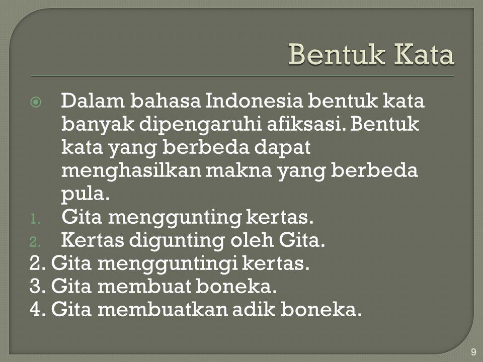  Dalam bahasa Indonesia bentuk kata banyak dipengaruhi afiksasi.