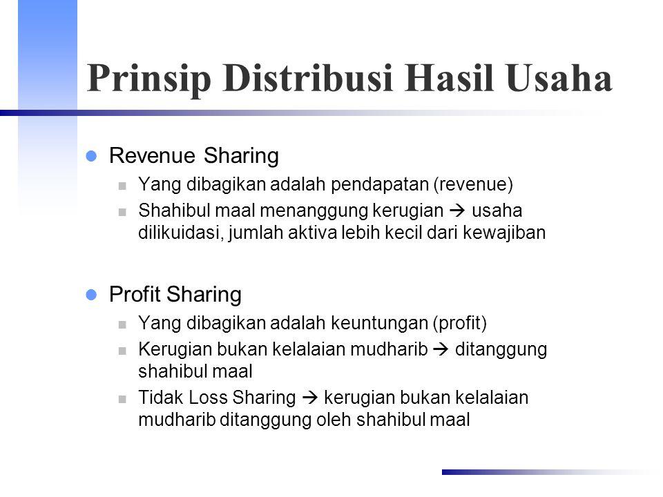 Prinsip Distribusi Hasil Usaha Revenue Sharing Yang dibagikan adalah pendapatan (revenue) Shahibul maal menanggung kerugian  usaha dilikuidasi, jumla