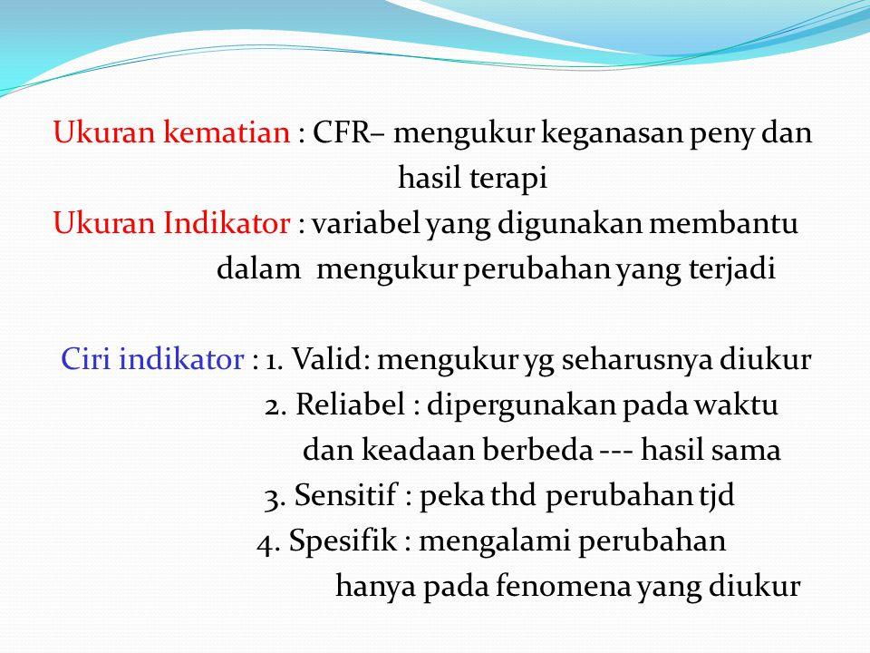 Ukuran kematian : CFR– mengukur keganasan peny dan hasil terapi Ukuran Indikator : variabel yang digunakan membantu dalam mengukur perubahan yang terj