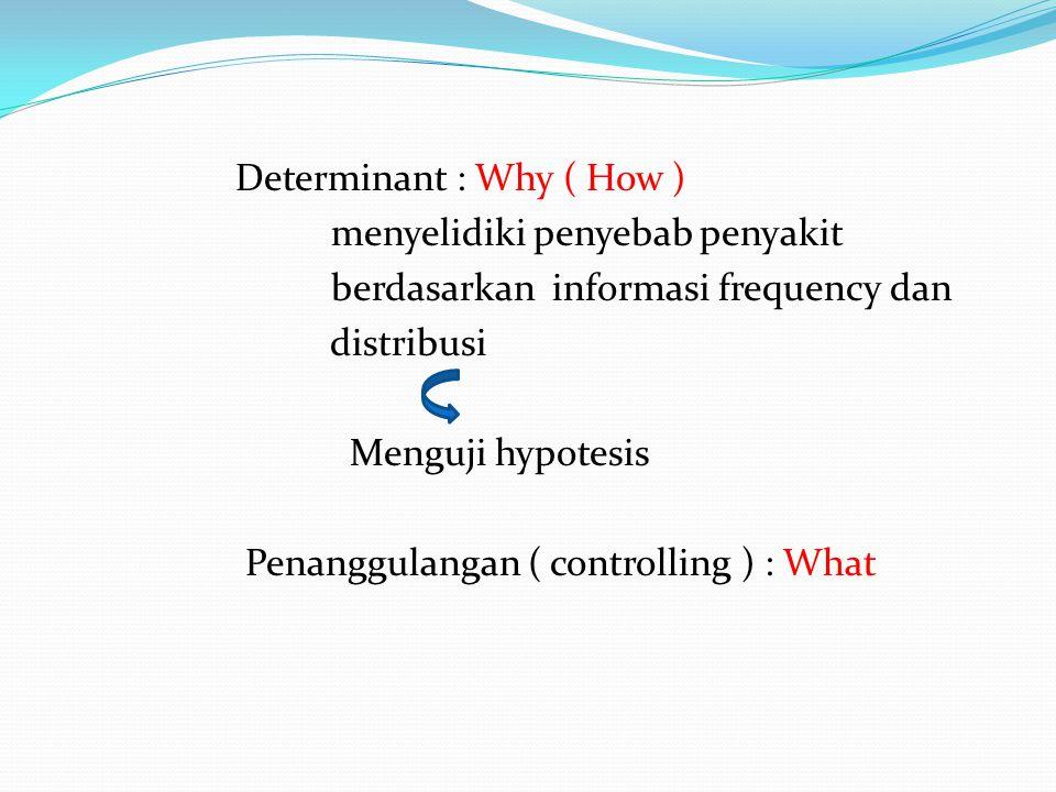Determinant : Why ( How ) menyelidiki penyebab penyakit berdasarkan informasi frequency dan distribusi Menguji hypotesis Penanggulangan ( controlling