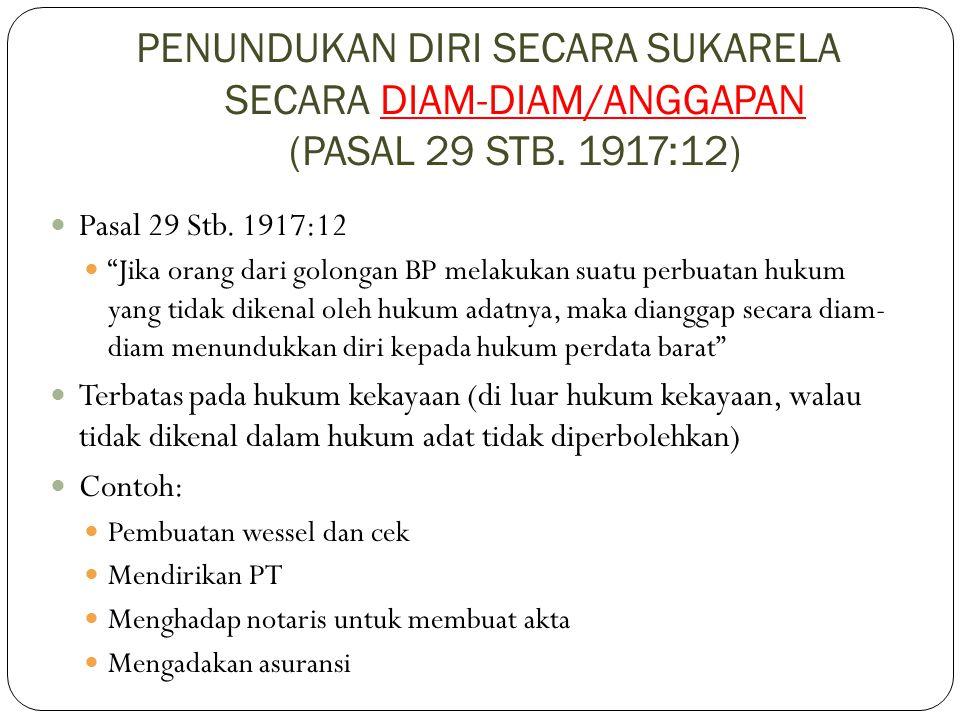 """PENUNDUKAN DIRI SECARA SUKARELA SECARA DIAM-DIAM/ANGGAPAN (PASAL 29 STB. 1917:12) Pasal 29 Stb. 1917:12 """"Jika orang dari golongan BP melakukan suatu p"""
