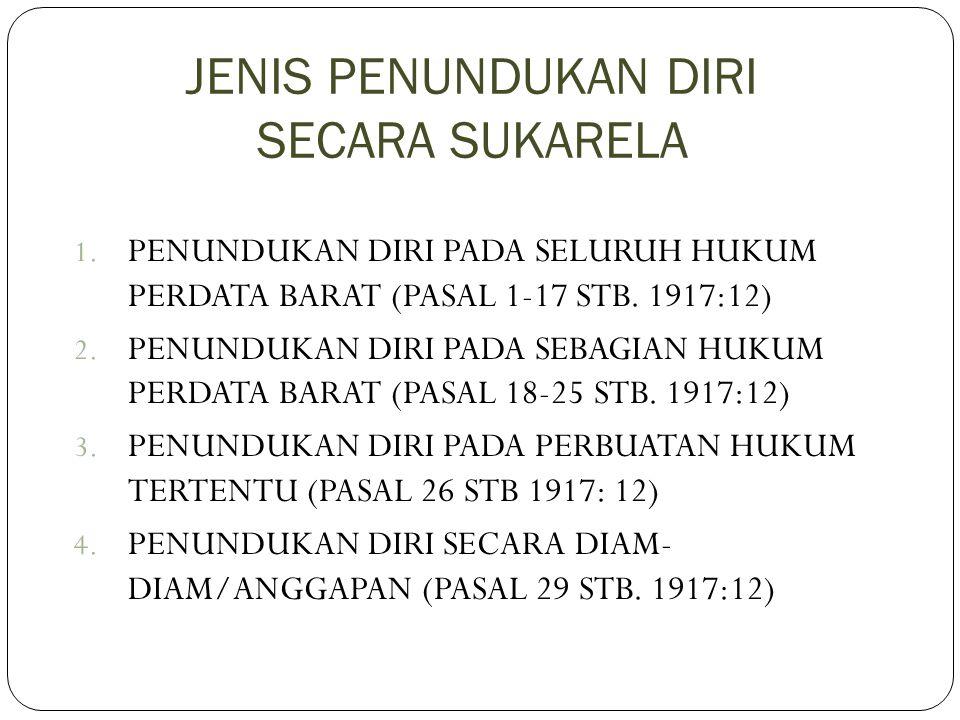 JENIS PENUNDUKAN DIRI SECARA SUKARELA 1. PENUNDUKAN DIRI PADA SELURUH HUKUM PERDATA BARAT (PASAL 1-17 STB. 1917:12) 2. PENUNDUKAN DIRI PADA SEBAGIAN H