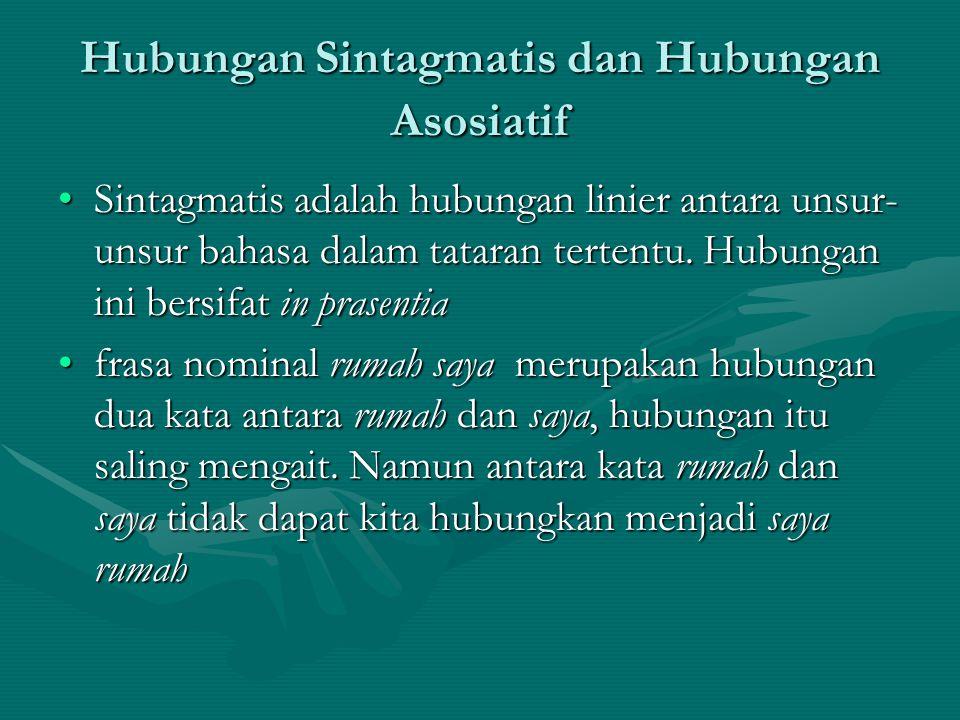Hubungan Sintagmatis dan Hubungan Asosiatif Sintagmatis adalah hubungan linier antara unsur- unsur bahasa dalam tataran tertentu. Hubungan ini bersifa