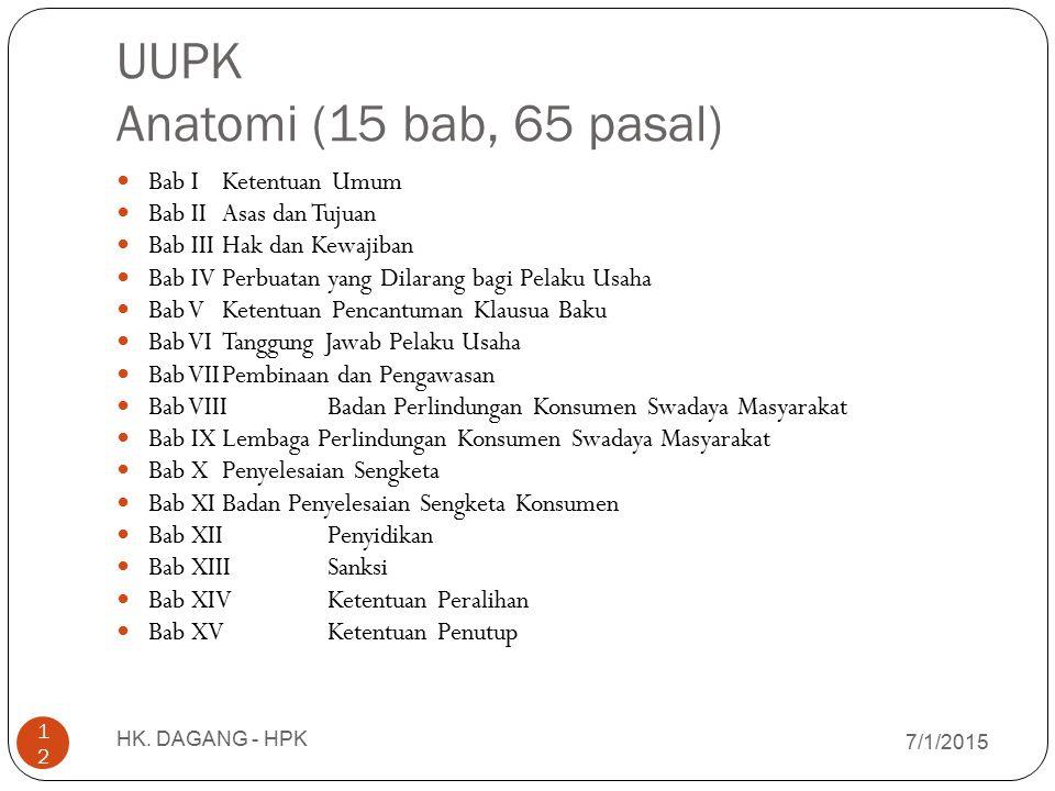 UUPK Anatomi (15 bab, 65 pasal) 7/1/2015 HK. DAGANG - HPK 12 Bab IKetentuan Umum Bab IIAsas dan Tujuan Bab IIIHak dan Kewajiban Bab IVPerbuatan yang D