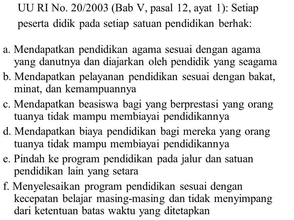 UU RI No. 20 tahun 2003 (Bab I, pasal 1 ayat 4) Peserta didik adalah anggota masyarakat yang berusaha mengembangkan potensi diri melalui proses pembel