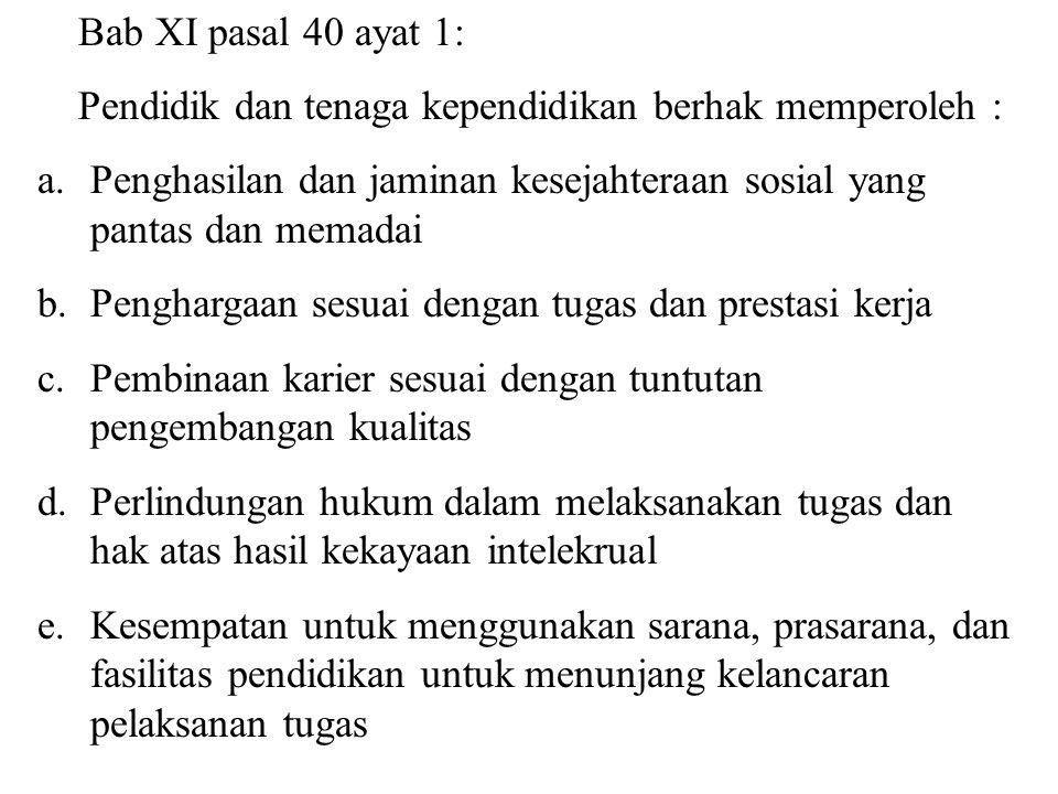 UU RI No. 20 tahun 2003: Bab XI, pasal 39 ayat 1: Pendidik merupakan tenaga profesional yang bertugas merencanakan dan melaksanakan proses pembelajara