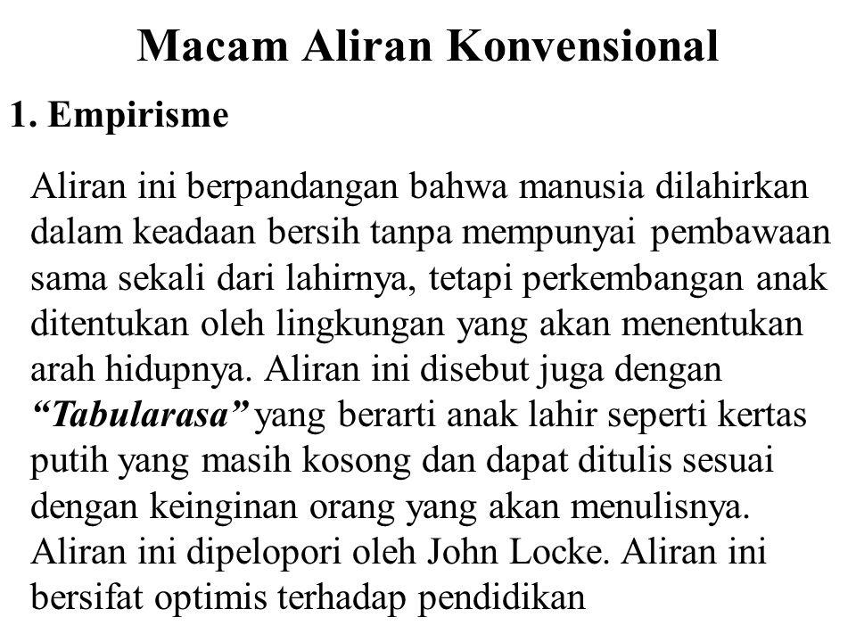 ALIRAN-ALIRAN POKOK PENDIDIKAN A. ALIRAN KONVENSIONAL Aliran konvensional merupakan pandangan atau pendapat yang membahas tentang faktor-faktor yang m