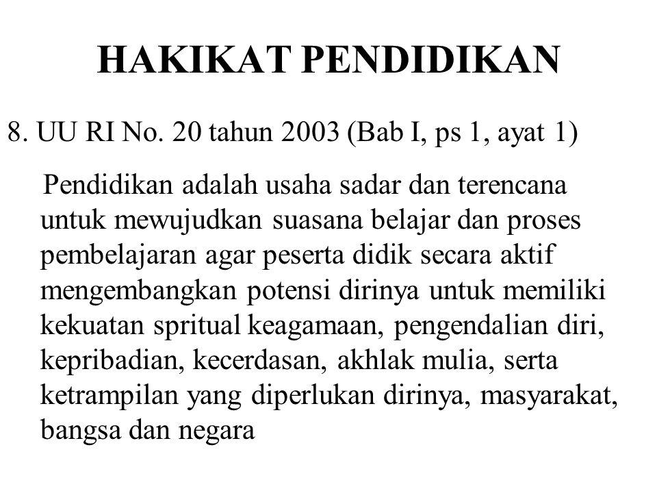 HAKIKAT PENDIDIKAN 7. UU RI No. 2 tahun 1989 (Bab I, ps 1, ayat 1) Pendidikan ialah usaha sadar untuk menyiapkan peserta didik melalui kegiatan bimbin
