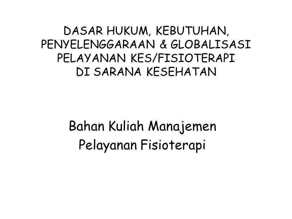 DASAR HUKUM, KEBUTUHAN, PENYELENGGARAAN & GLOBALISASI PELAYANAN KES/FISIOTERAPI DI SARANA KESEHATAN Bahan Kuliah Manajemen Pelayanan Fisioterapi