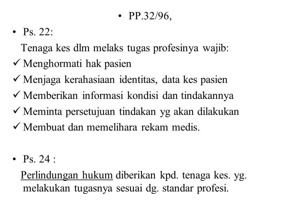 PP.32/96, Ps. 4 : Tenaga kes. hanya dapat melakukan upaya kes. setelah memiliki izin dari Menteri. Ps. 21 : Setiap tenaga kes. dalam melakukan tugasny