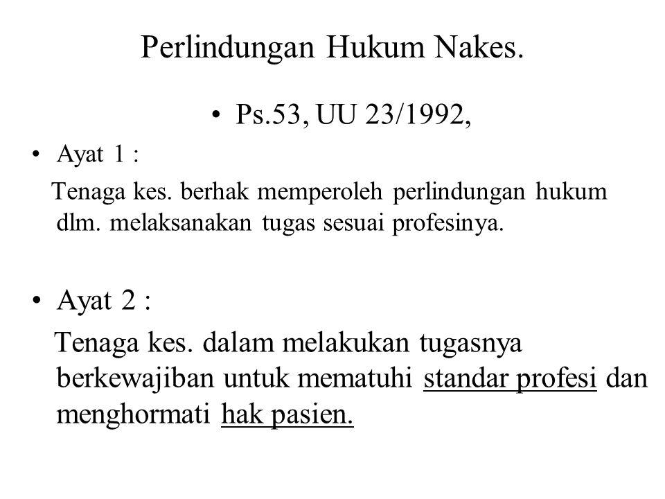 Perlindungan Hukum Nakes.Ps.53, UU 23/1992, Ayat 1 : Tenaga kes.