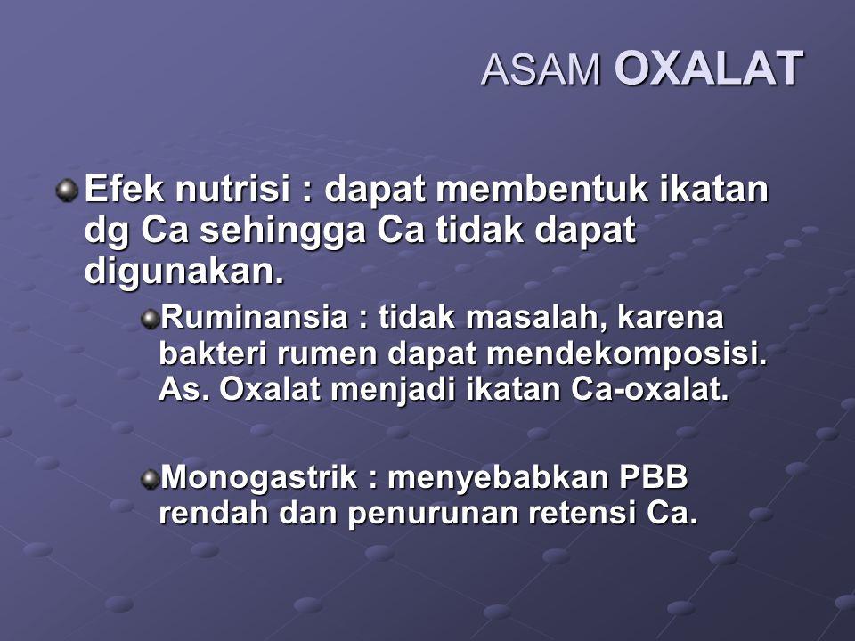 ASAM OXALAT Terdapat dalam tumbuhan dan hewan dlm bentuk bebas atau ikatan garam. Lobak dan bayam sangat tinggi kandungan as. Oxalat (600 mg %) Kacang