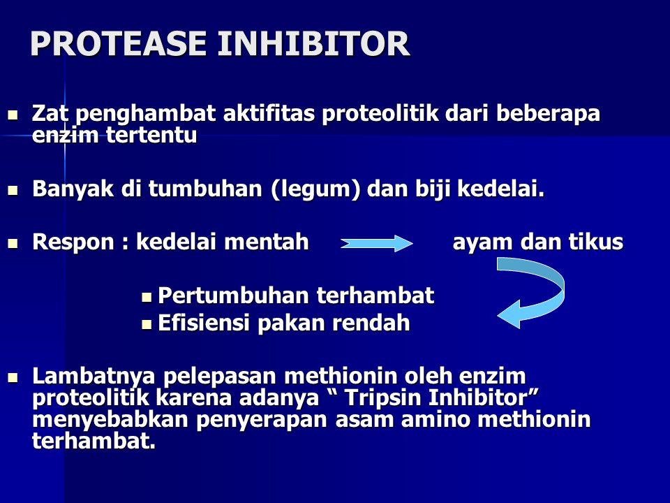 KLASIFIKASI  AN penghambat pencernaan/ metabolisme protein. a. Protease inhibitor b. Lectin c. Saponin d. Ikatan polyphenol  AN penurun daya larut/