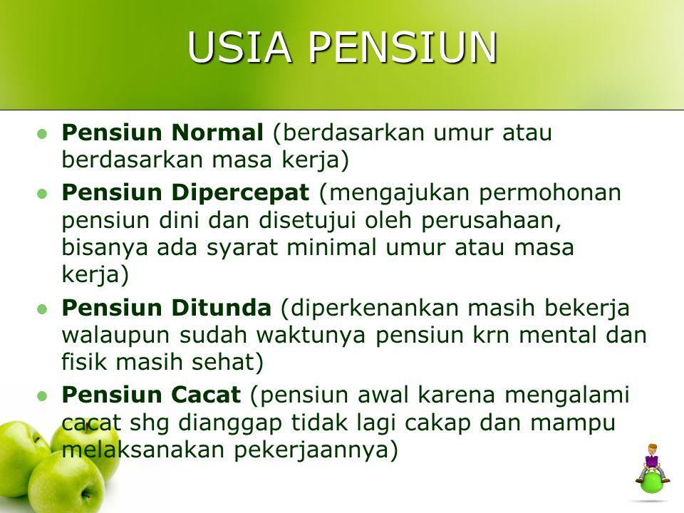 USIA PENSIUN Pensiun Normal (berdasarkan umur atau berdasarkan masa kerja) Pensiun Dipercepat (mengajukan permohonan pensiun dini dan disetujui oleh p