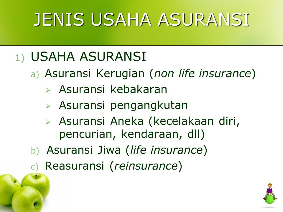 JENIS USAHA ASURANSI 1) USAHA ASURANSI a) Asuransi Kerugian (non life insurance)  Asuransi kebakaran  Asuransi pengangkutan  Asuransi Aneka (kecela