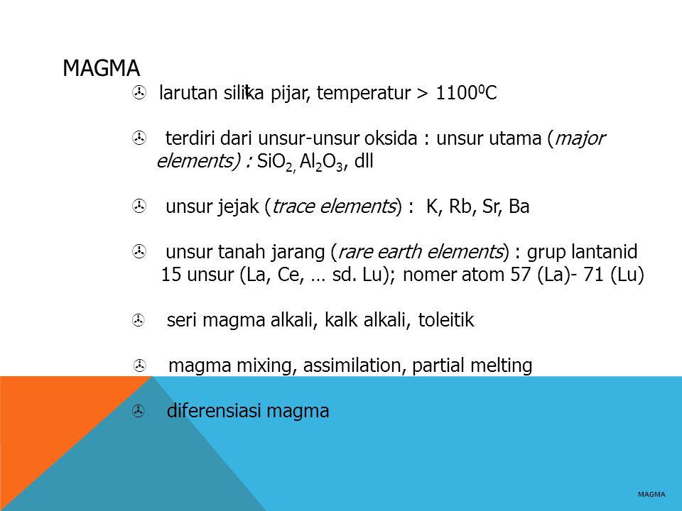 MAGMA  larutan silika pijar, temperatur > 1100 0 C  terdiri dari unsur-unsur oksida : unsur utama (major elements) : SiO 2, Al 2 O 3, dll  unsur je