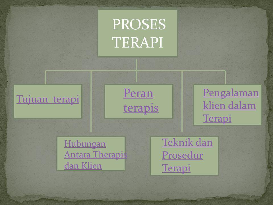 PROSES TERAPI Tujuan terapi Peran terapis Pengalaman klien dalam Terapi Hubungan Antara Therapis dan Klien Teknik dan Prosedur Terapi