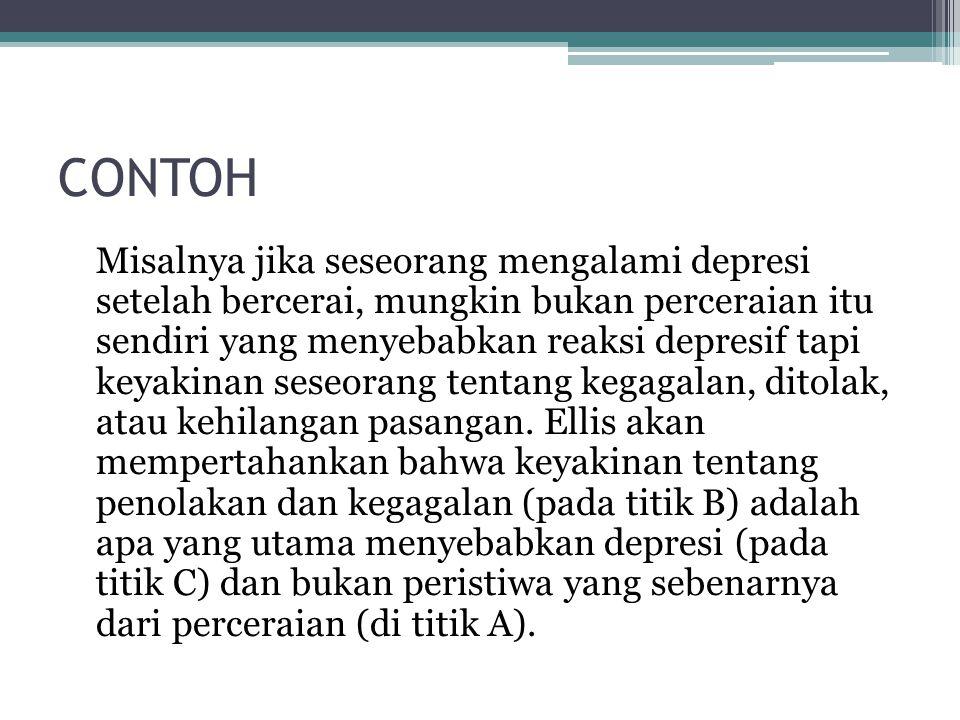 CONTOH Misalnya jika seseorang mengalami depresi setelah bercerai, mungkin bukan perceraian itu sendiri yang menyebabkan reaksi depresif tapi keyakina