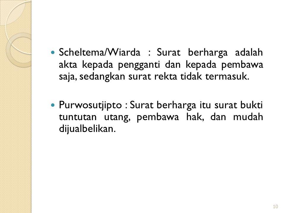 Scheltema/Wiarda : Surat berharga adalah akta kepada pengganti dan kepada pembawa saja, sedangkan surat rekta tidak termasuk. Purwosutjipto : Surat be